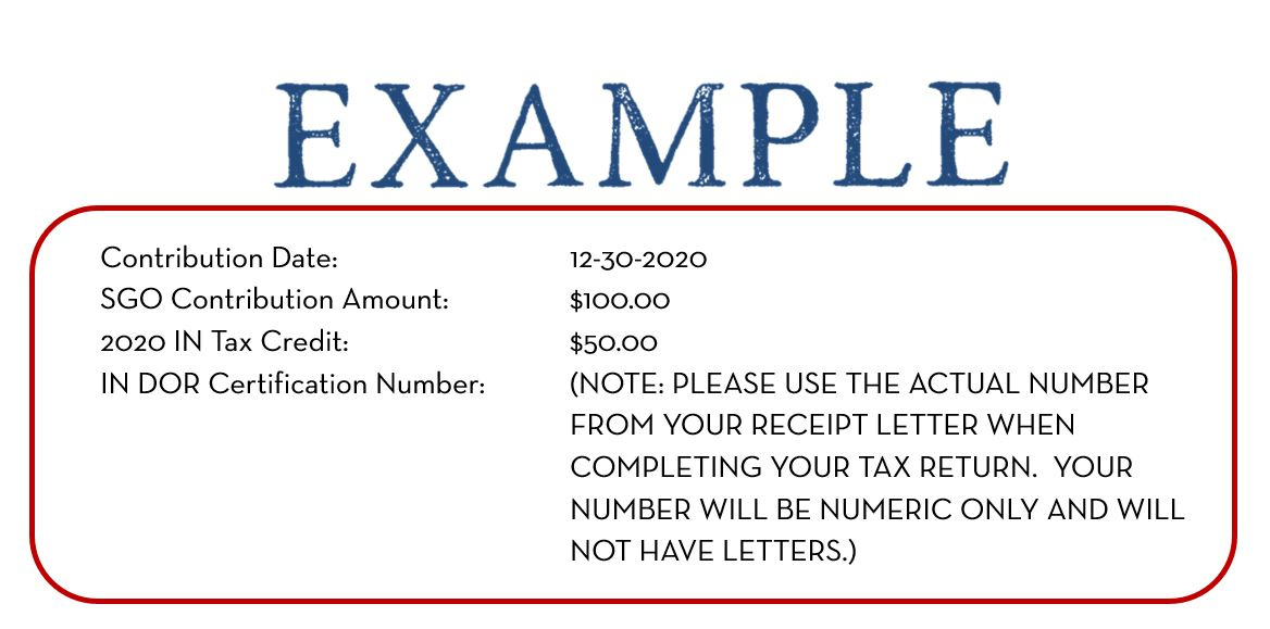 excerpt from receipt letter 2020